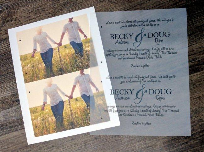 Rustic Wedding Invitation with Vellum Overlay 6