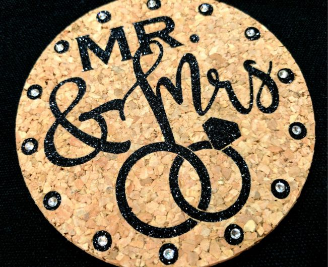 Wedding Coaster with Crystals and GlitterFlex